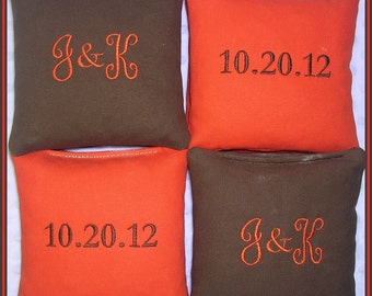 Wedding Cornhole Bags Personalized Date Couple Initials Set of 8 Brown and Orange