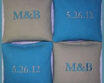 Cornhole Bags Wedding Personalized Date Couple Initials Set of 8 Turquoise and Gray