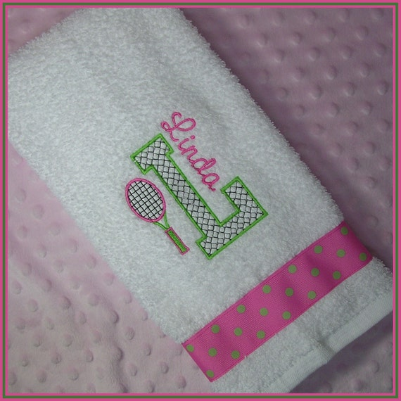 Tennis Towel Personalized With Racket And Initial Hot Pink And