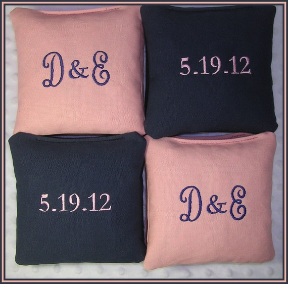 Cornhole Bags Solid Wedding Personalized Date Couple Initials Set of 16