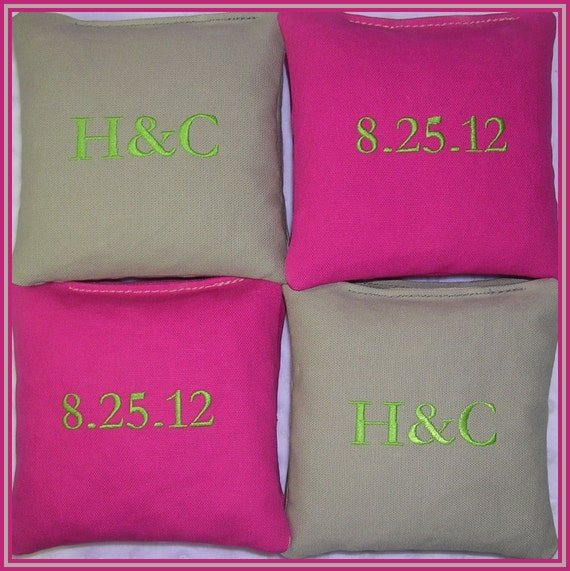 Cornhole Bags Wedding Personalized Date Couple Initials Hot Pink and Gray Set of 8 Bags