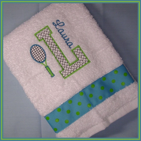 Tennis Towel Personalized With Racket And Initial Turquoise