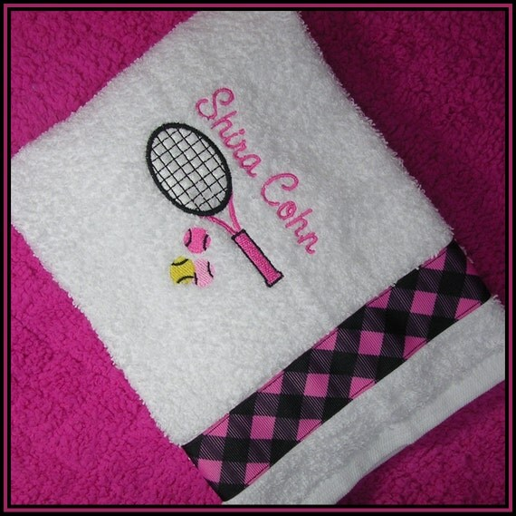 Personalized Sweat Towel: Items Similar To Personalized Tennis Racket Sweat Towel
