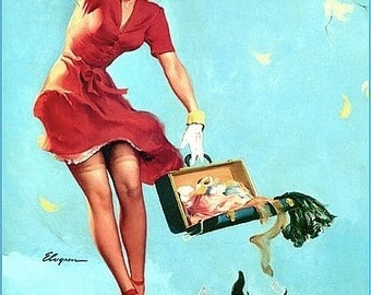 SALE ELVGREN  FINDERS KEEPERS  SCOTTY DOG  PIN UP STOCKINGS UP SKIRT FINE ART CANVAS  PINUPS  SALE