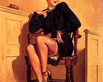 SALE . ELVGREN . Attorney Girl . Pin-Up. UpSkirt In Nylons Stockings .Large Canvas . Pinups. Sale