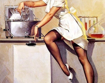 ELVGREN - WHATS COOKING  - Pin-Up Nurse - Medical Lab - Doctor - Up skirt Uniform  Stockings  Nylons Pinup 12x18 Limited Edition
