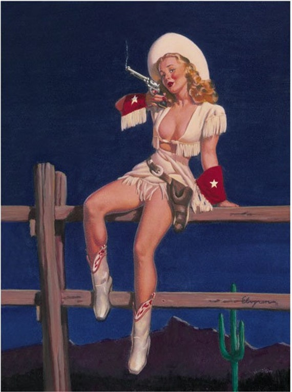 SALE . ELVGREN . AIMING TO PLEASE . PISTOL. NOSE ART . PIN UP . COWGIRL . LARGE CANVAS PRINT . PINUPS . SALE