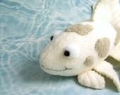Handmade Gray and White Koi Fish Stuffed Animal