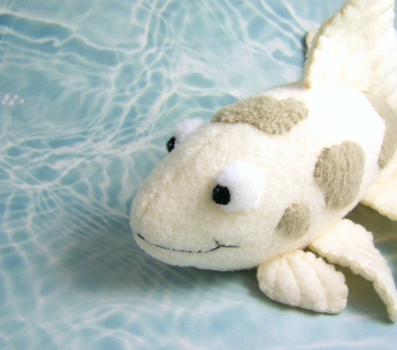 Handmade gray and white koi fish stuffed animal for Fish stuffed animal