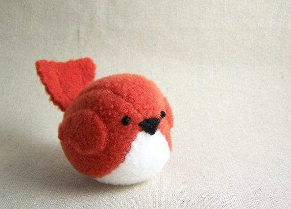 Bird Stuffed Animal in Tomato Red Orange