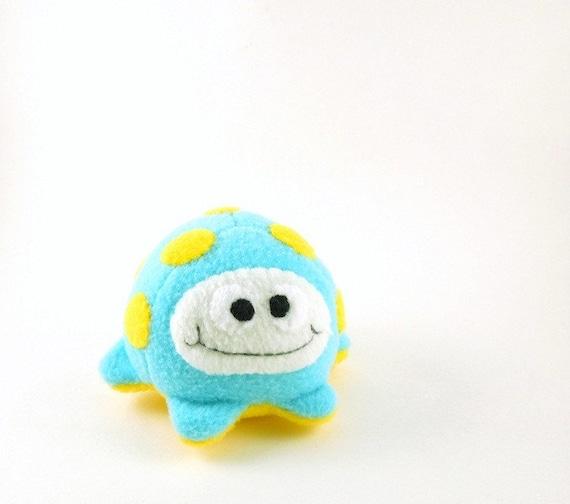 Small Alien Stuffed Animal Aqua and Bright Yellow Fluffcrobe Kids Plush Toy