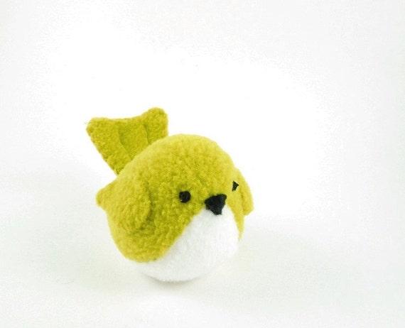 Childrens Bird Stuffed Animal in Chartreuse Green Kids Plush Toy