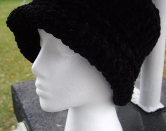Reversible Shape Hat - Cloche or Brimmed - Classic Black Chenille