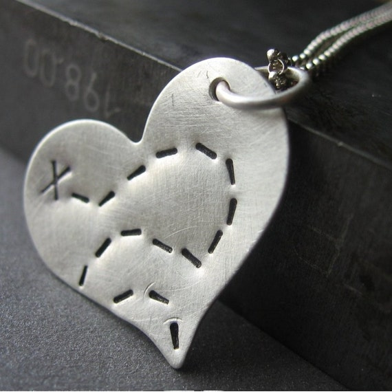 Where Your Treasure Lies - Graduation 2010 Necklace  Sterling Silver Hand Stamped Heart Charm Necklace