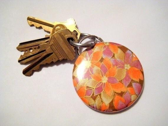 Chiyogami Keychain Bottle Opener -  Orange Autumn Mums