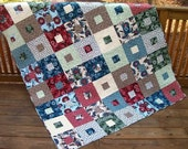 Clearance SALE 25% off Original Price - Square in a Square Lap Quilt Bryant Park - 63 x 72