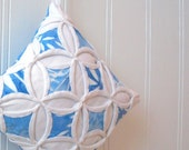 Cyber Monday Etsy Christmas Holiday Ornament Blue Batik Miniature Cathedral Window Pillow - 4 Inches