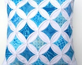 35% Off Sale Decorative Pillow Cover Blue Batik Cathedral Windows Throw Pillow Cover 18 Inches