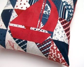 Nautical Pillow Cover - Red, White and Blue