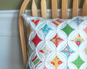 SALE 35% Off Decorative Pillow Cover Cathedral Window Red Green Aqua Yellow Riley Blake 18 Inch
