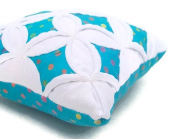 25% off Pincushion Batik Mini Cathedral Window Pillow Aqua Polka Dot - 5 Inches Square