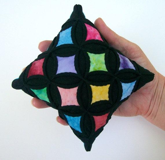 Pincushion Cathedral Window Multi-Colored Batik Miniature Pillow - 5 Inches Square