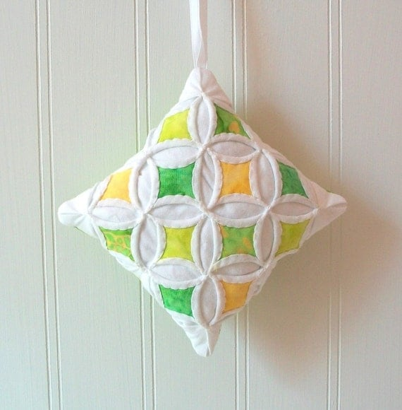 Green and Yellow Christmas Batik Miniature Cathedral Window Pillow Ornament - 4 Inches