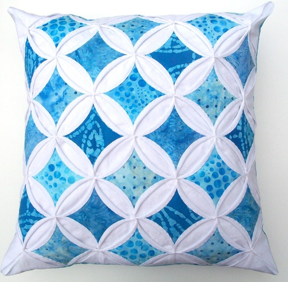 30% Off Sale Decorative Pillow Cover Blue Batik Cathedral Windows Throw Pillow Cover 18 Inches