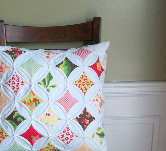 Quilted Pillow Cover Throw Pillow Cathedral Window Moda Oops A Daisy 18 Inch