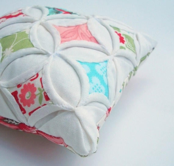 Pincushion Miniature Pillow Shabby Chic Cathedral Window Bliss - 5 Inches Square
