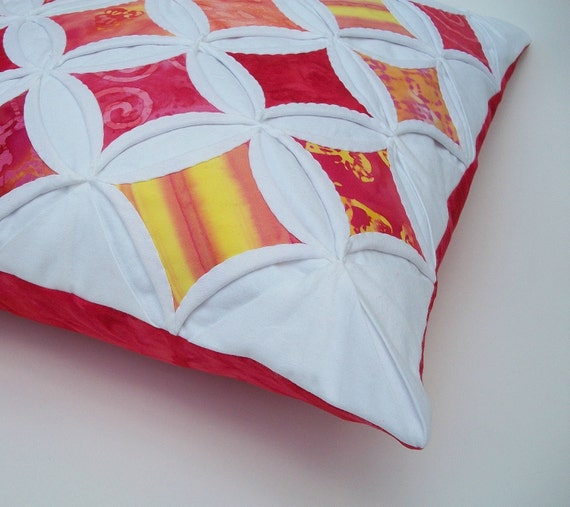 CLEARANCE Pillow Cover Cushion Cover Cathedral Window Batik Red Orange Yellow Pink 18 Inch