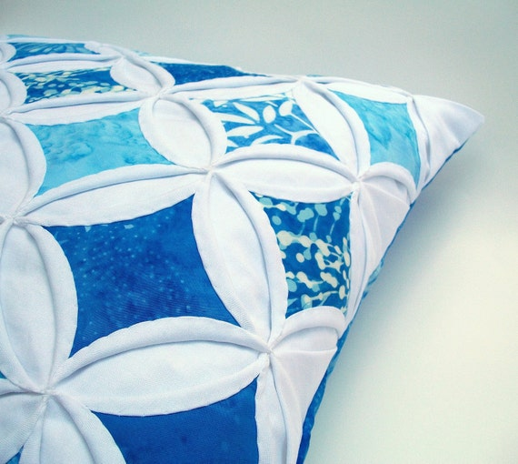 30% Off  Decorative Pillow Cover Blue Topaz Cathedral Window Blue Batik 18 Inch
