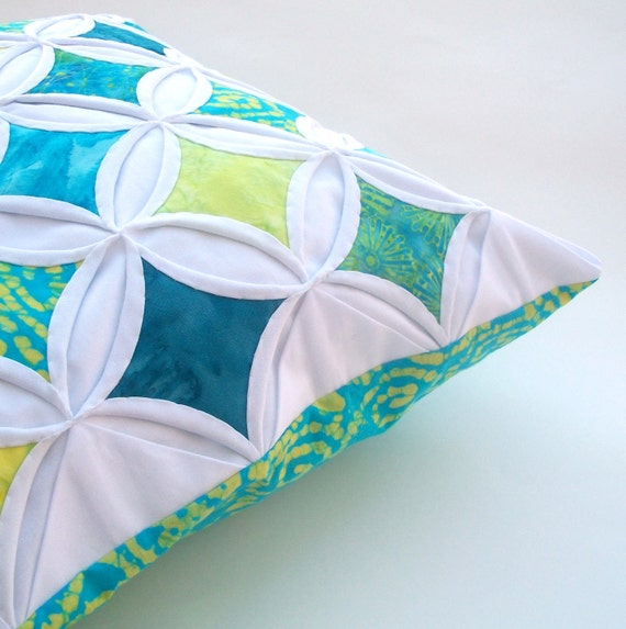 Decorative Pillow Cover Cathedral Window Throw Pillow Lime Aqua Batik - 18 Inch