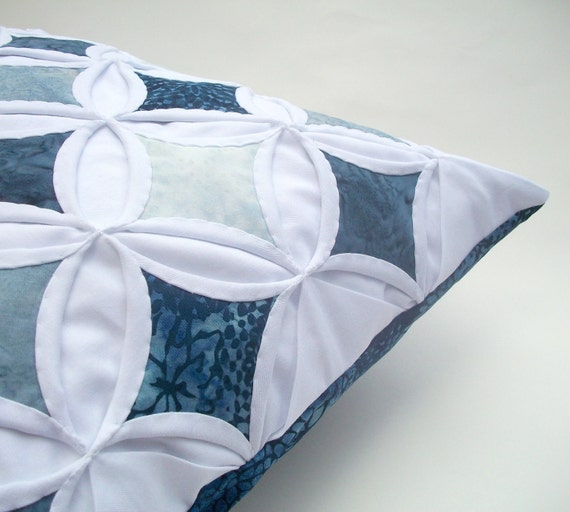 Decorative Pillow Cover Cathedral Window Batik Blue Gray - 18 Inch