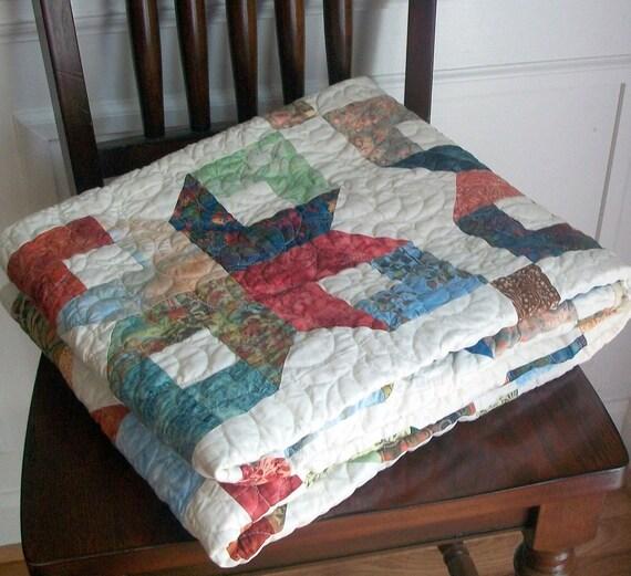 SALE Quilt Lap Batik Earth Tones - 52 x 65