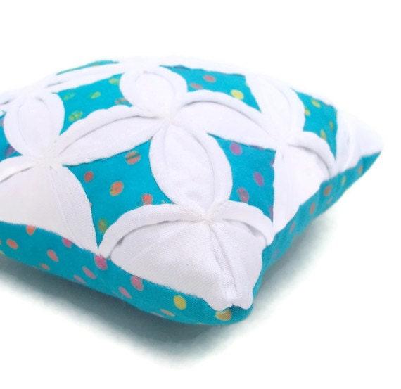 25% off Pincushion Batik Mini Cathedral Window Pillow Aqua Polka Dot - 5 Inches Square