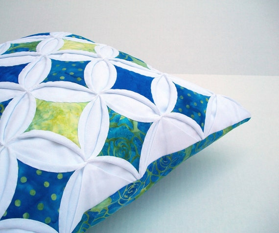 Pillow Cover Throw Pillow Blue Green Batik Cathedral Window 18 Inch
