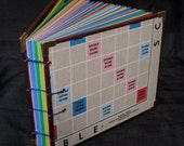 1954 Scrabble Game Board Coptic Stitched Album with colored paper