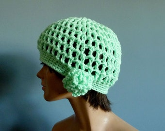 Cloche Beanie Hat, Crochet Hat, in Mint Green with Flower