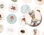 Marie Antoinette tea party 1 inch button circles digital collage sheet