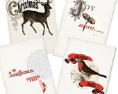 Red Christmas Card Set- Digital PDF Cards for Download and Print