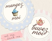Eat Me Drink Me (french version) mangez moi, buvez moi  - Digital PDF Tags for Download and Print