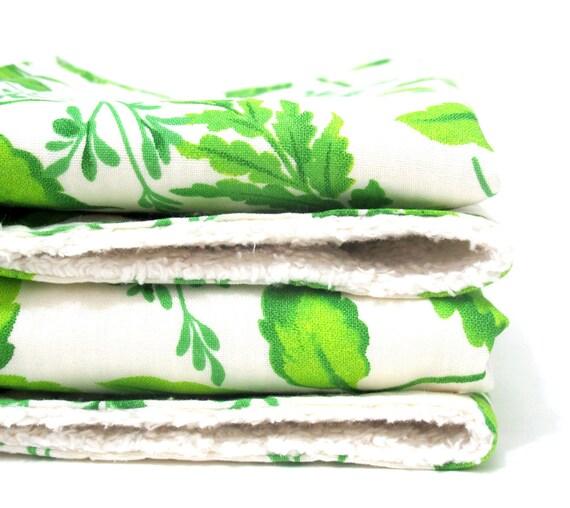 SALE Chenille Burp Cloths - Set of 2 - Leaves
