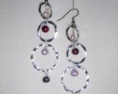 Gorgeous Silver  Hammered Hoop And Cultured Pearl Earrings (reserved for Alex)