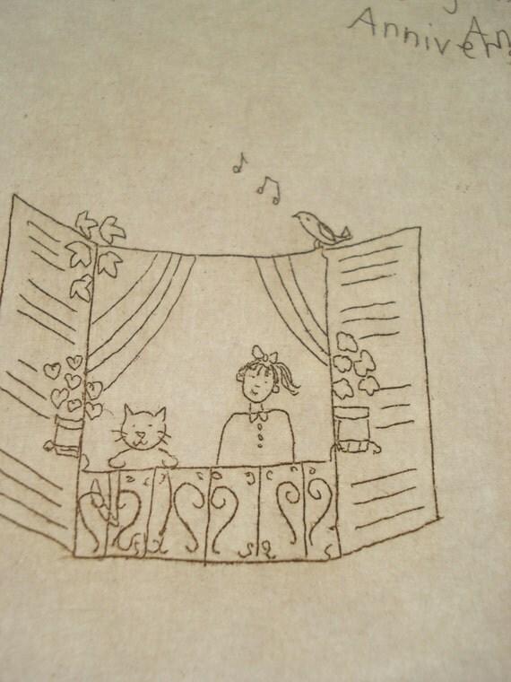 Joyeux Anniversaire Paris postcard etching
