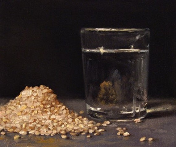 Brown Rice with Glass of Water, Daily oil Painting a Day by Abbey Ryan