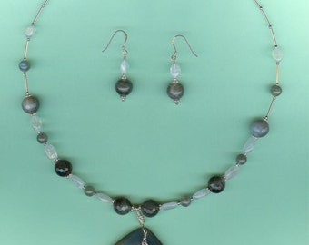 Agate, Moonstone & Labradorite Sterling Silver Necklace Earrings Set