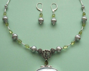 NECKLACE SET  Mabe Pearl, Peridot, Ammonite Fossil, Freshwater Pearls Sterling Silver Set