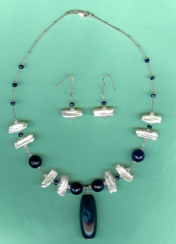 Blue Agate, Sapphire & Cultured Freshwater Stick Pearls Sterling Silver Set