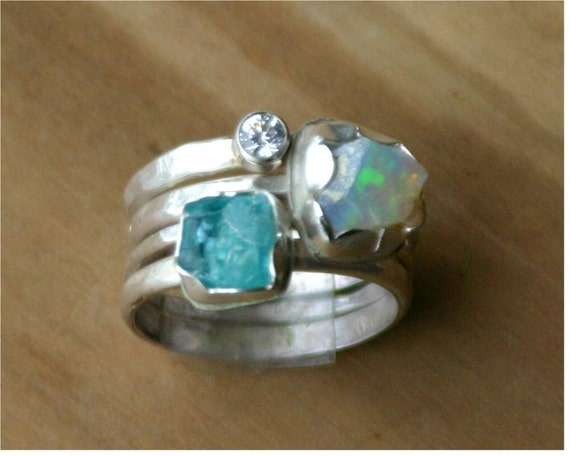 Raw apatite, raw opal and white topaz sterling stacking rings - US Size 7